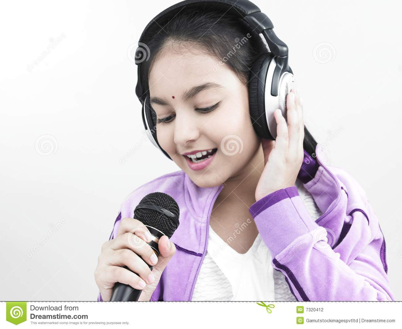 girl singing into her mike stock photo image of headphone
