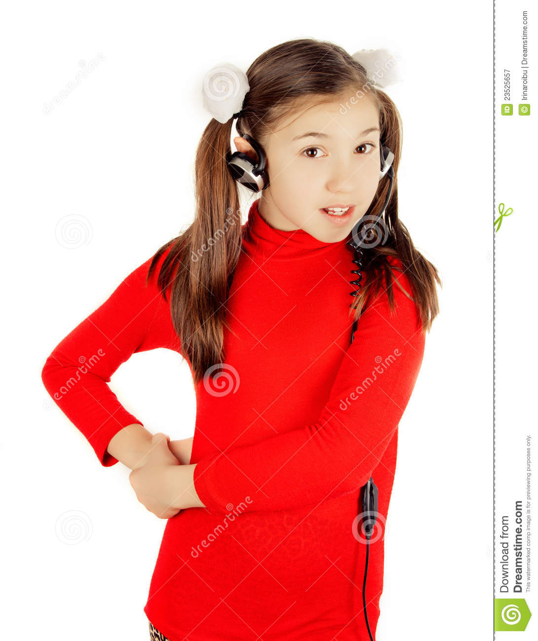 Girl Singing Into A Microphone Stock Image Image Of