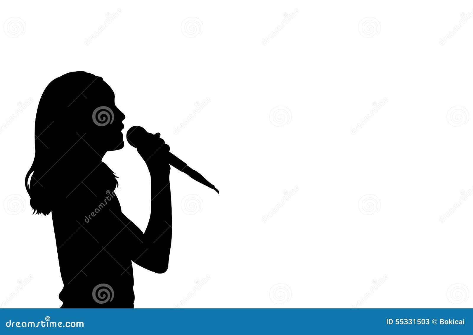 Girl singing silhouett...