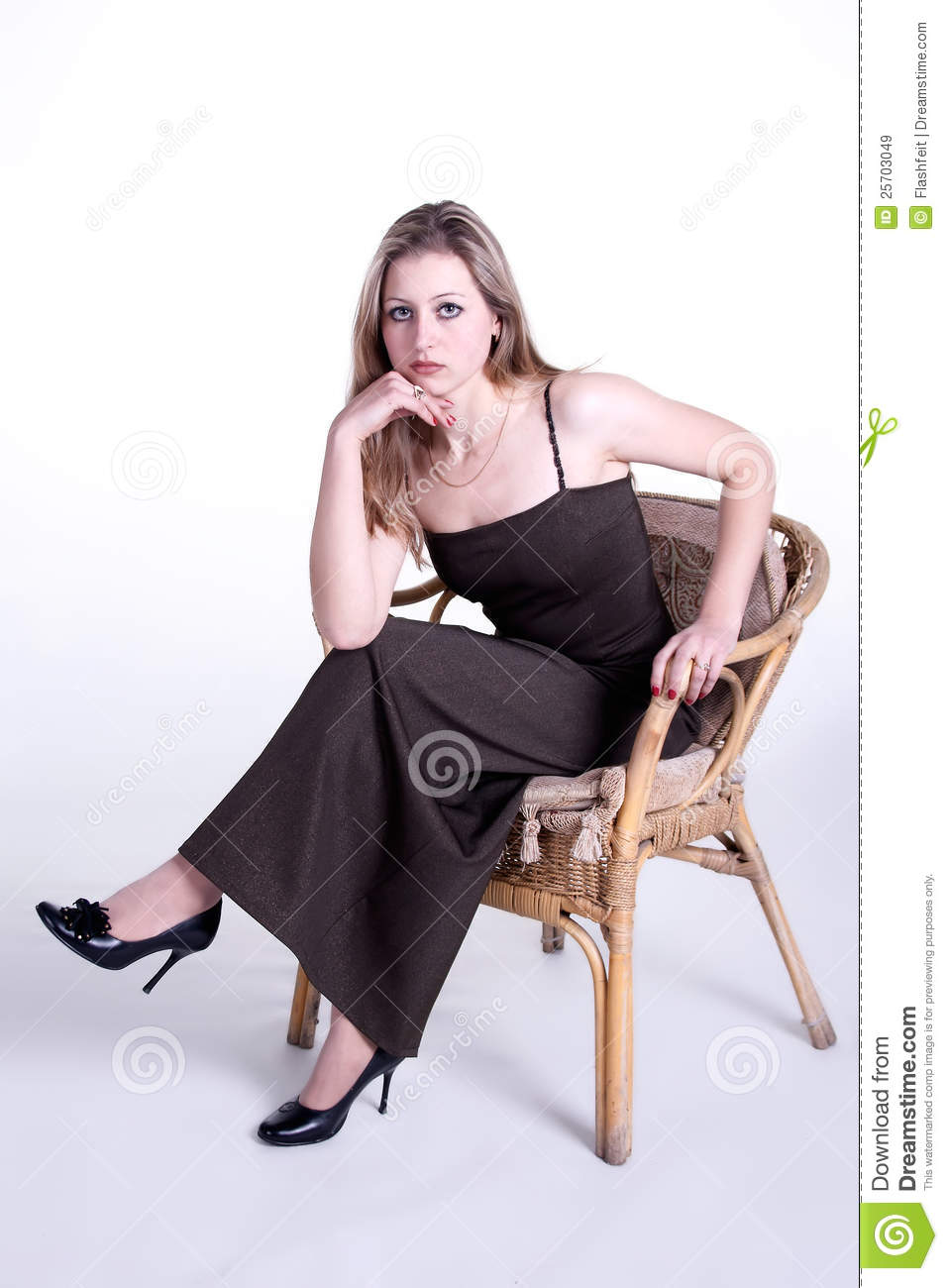 Girl sitting in armchair on white background royalty free for Sitting in armchair