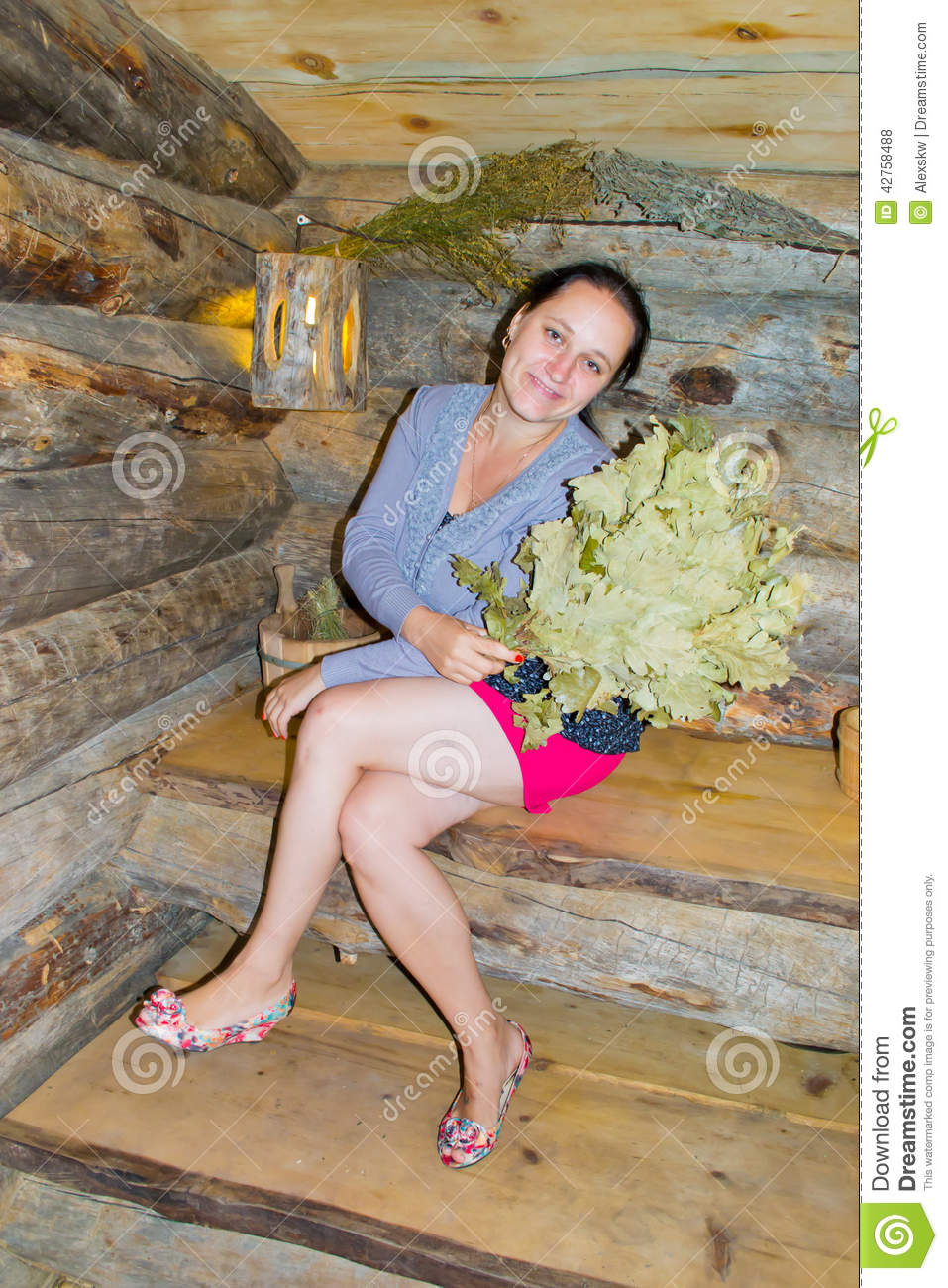 Russian Woman On Bench In Bath-House Royalty-Free Stock Photo  Cartoondealercom -7360
