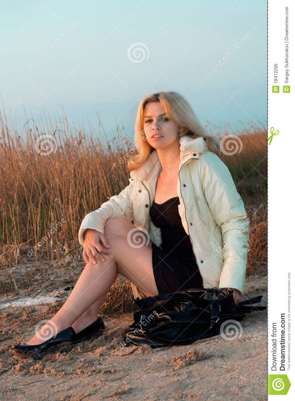 Girl Sitting On The Beach Stock Image Image Of Reed