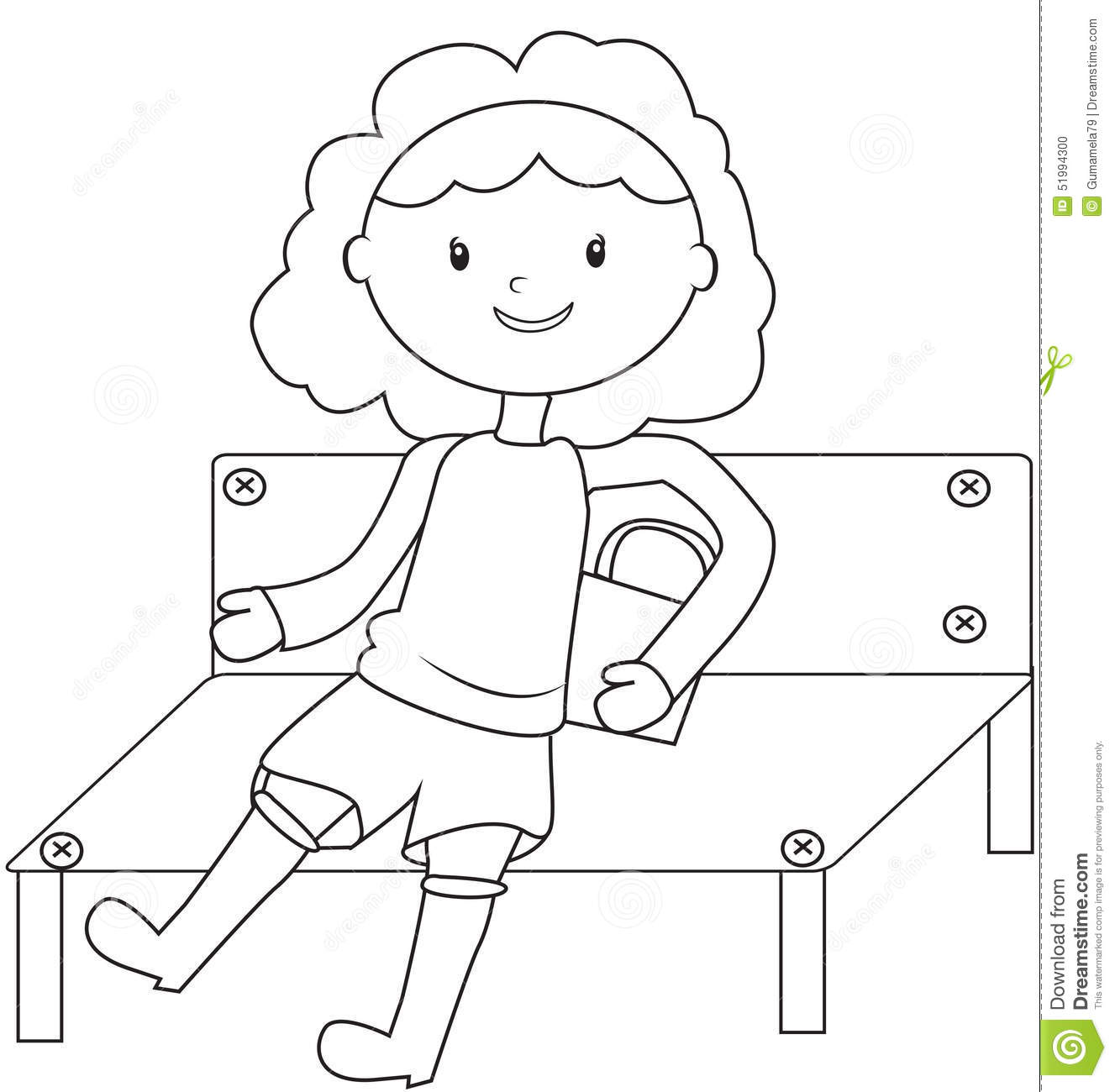 girl sitting on a bench coloring page stock illustration