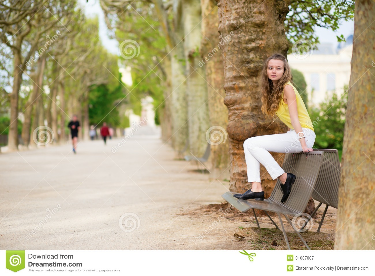 Girl Sitting Alone On Bench Girl Sitting On A Benc...