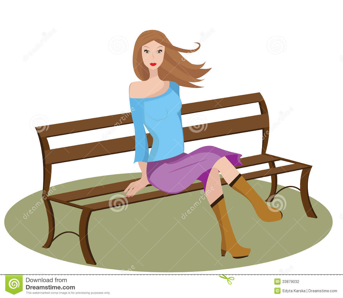 Girl sitting on a bench. stock vector. Image of fashion ...