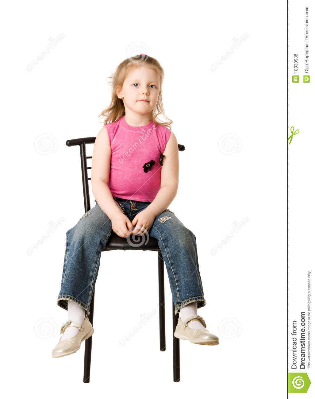 Girl sitting on chair stock photo image of child excited for Child on chair