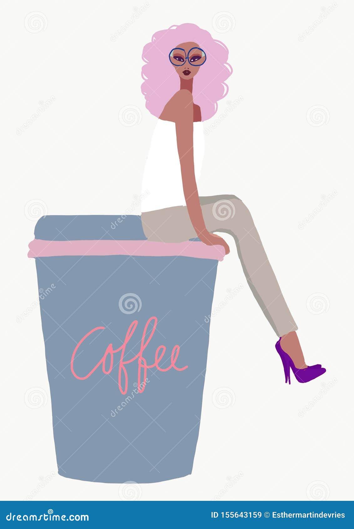 Girl sitting on coffee take away mug illustration. biracial afro American woman with cosmetics