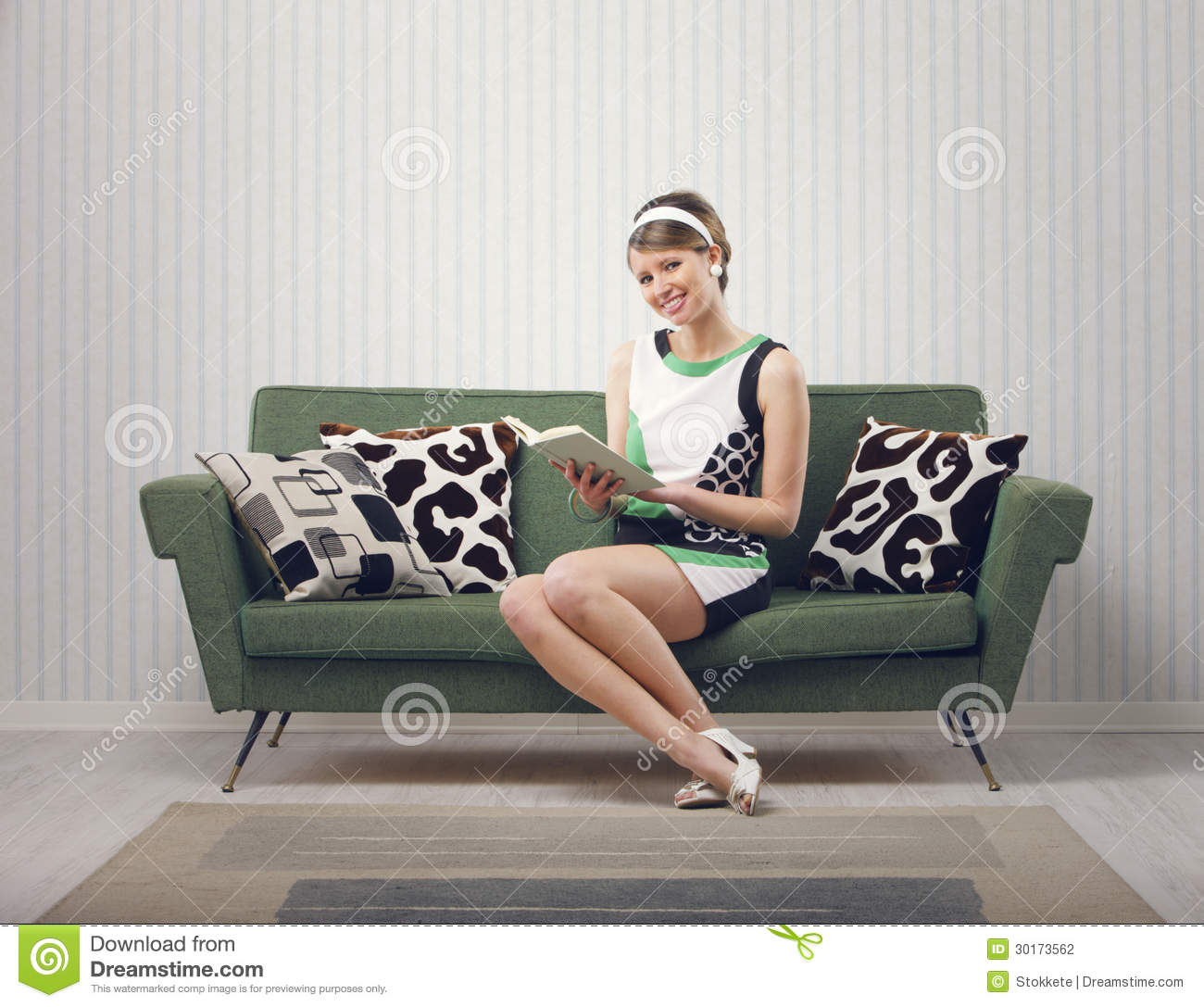 girl sitting on the couch stock photography image 30173562. Black Bedroom Furniture Sets. Home Design Ideas