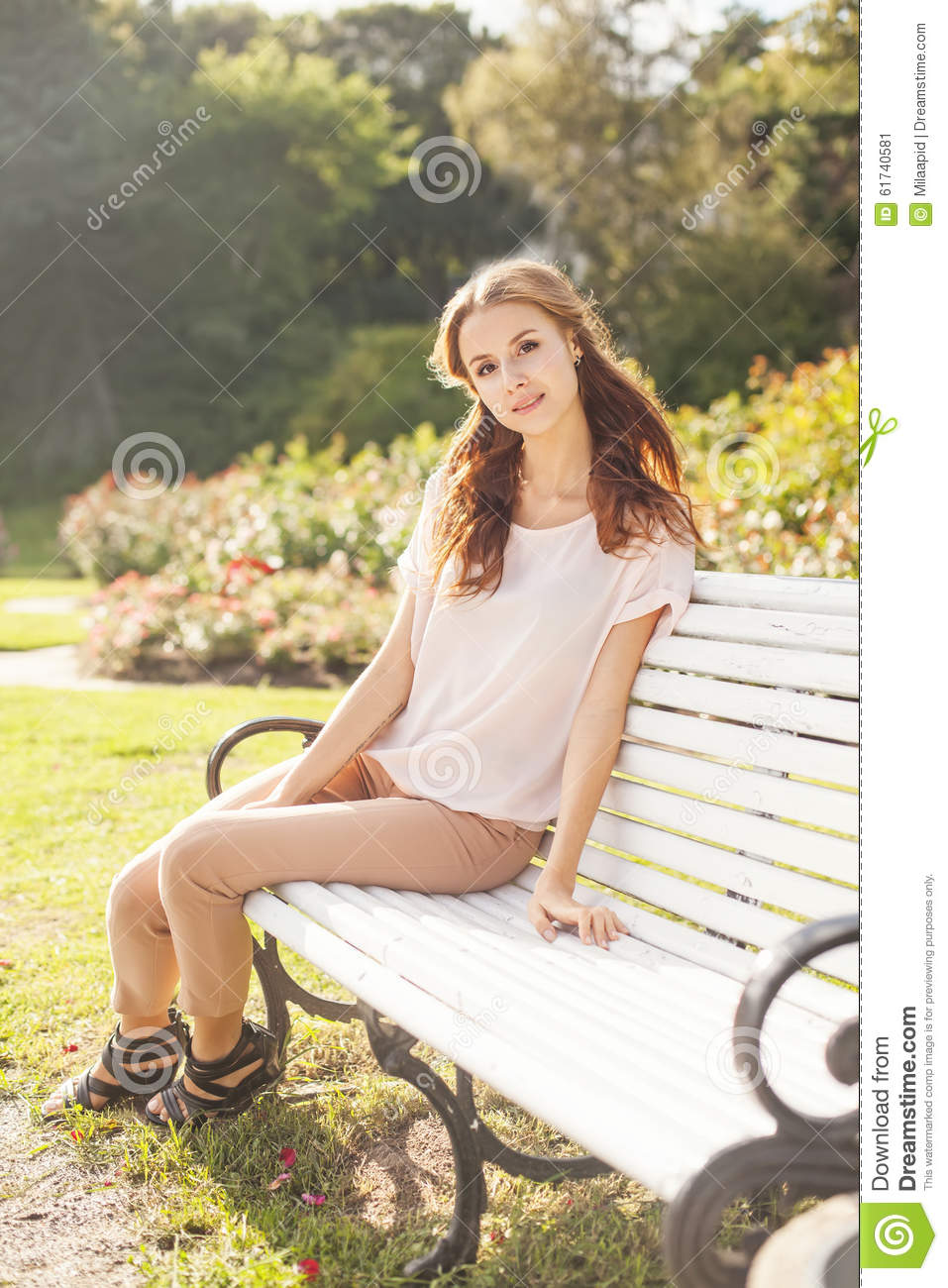 Girl Sitting In The Garden Stock Image Image Of Beautiful -6130