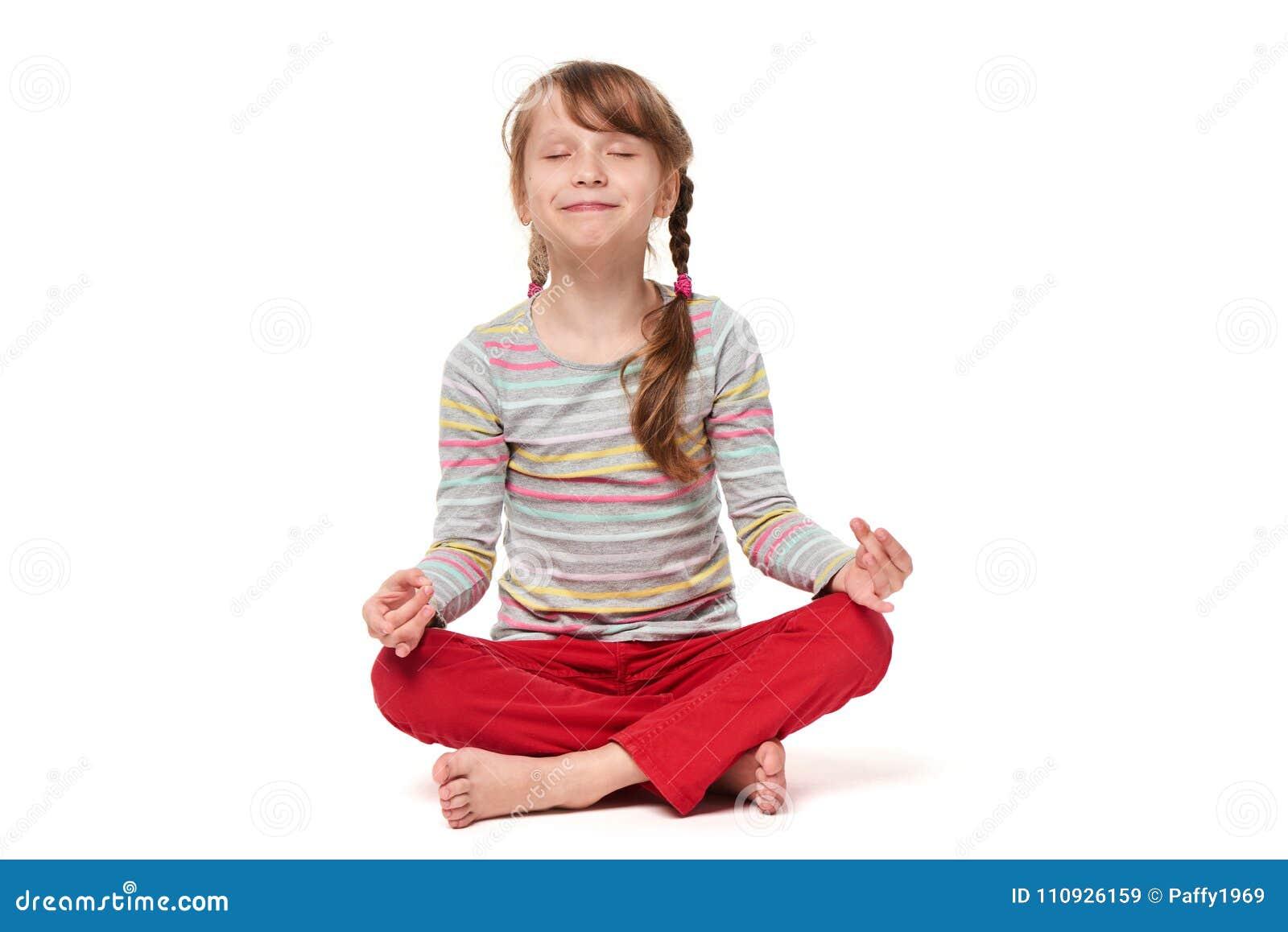 Girl Sitting In Lotus Pose Meditating Smiling Stock Image ...