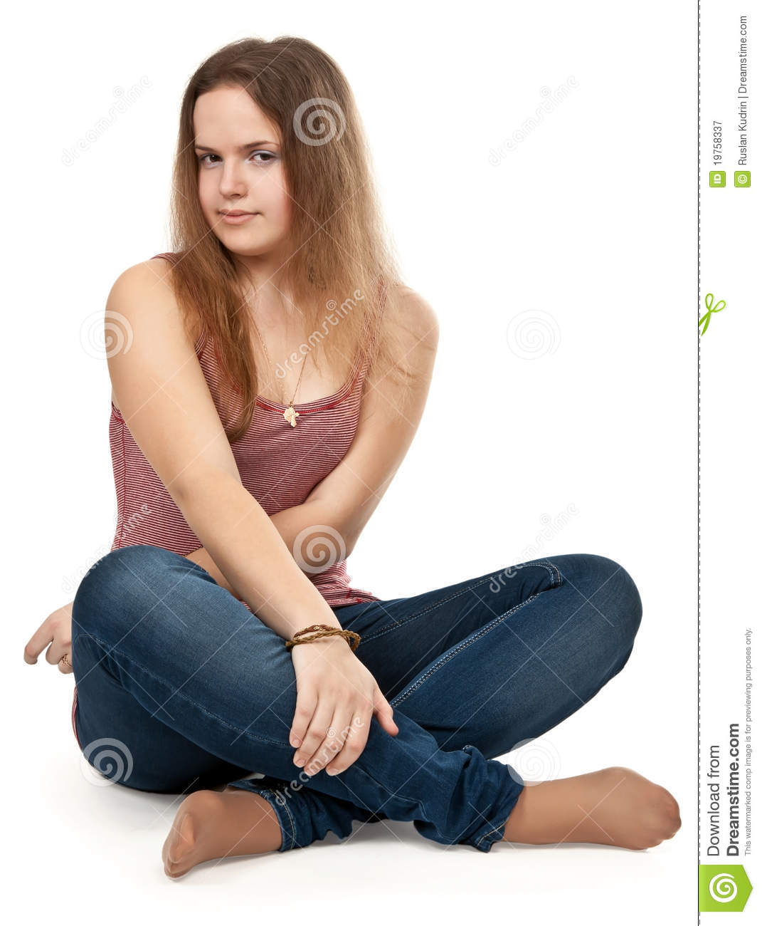 Girl Sitting In The Lotus Position Royalty Free Stock -4263