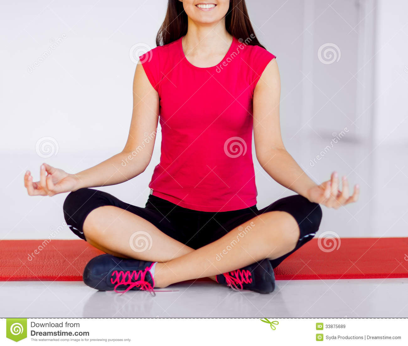 Girl Sitting In Lotus Position And Meditating Royalty Free