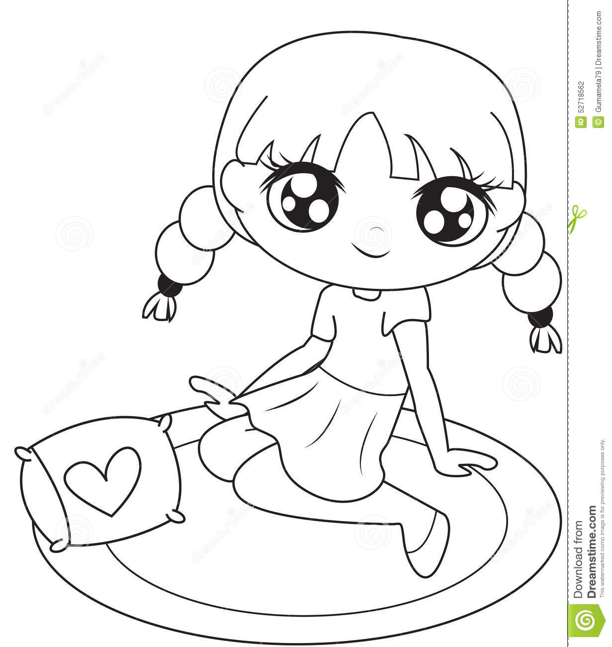 Girl Sitting On A Mat Coloring Page Stock Illustration