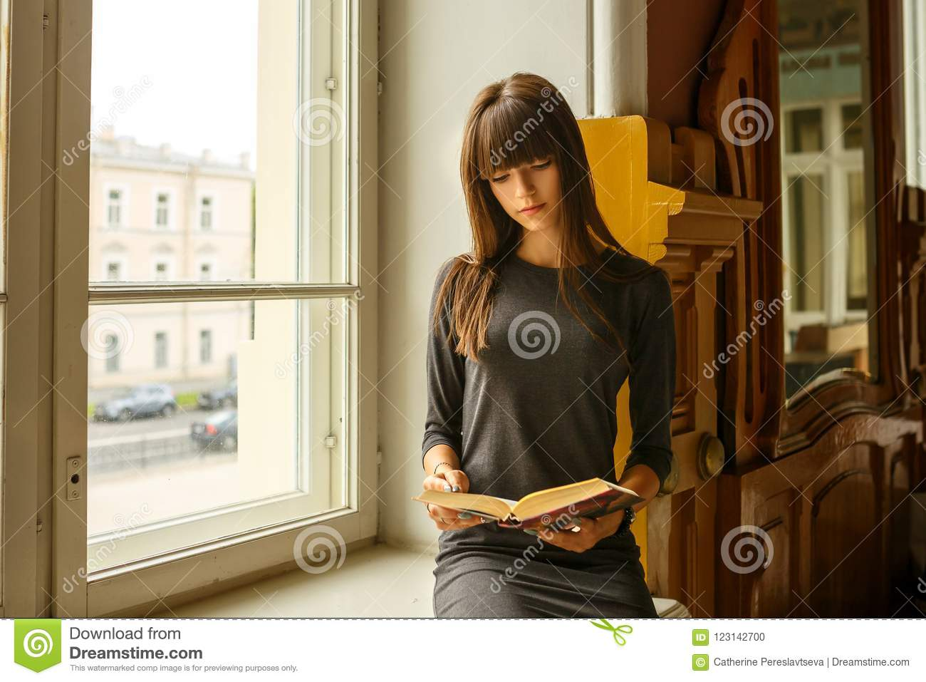 Girl sitting near the window reading a book