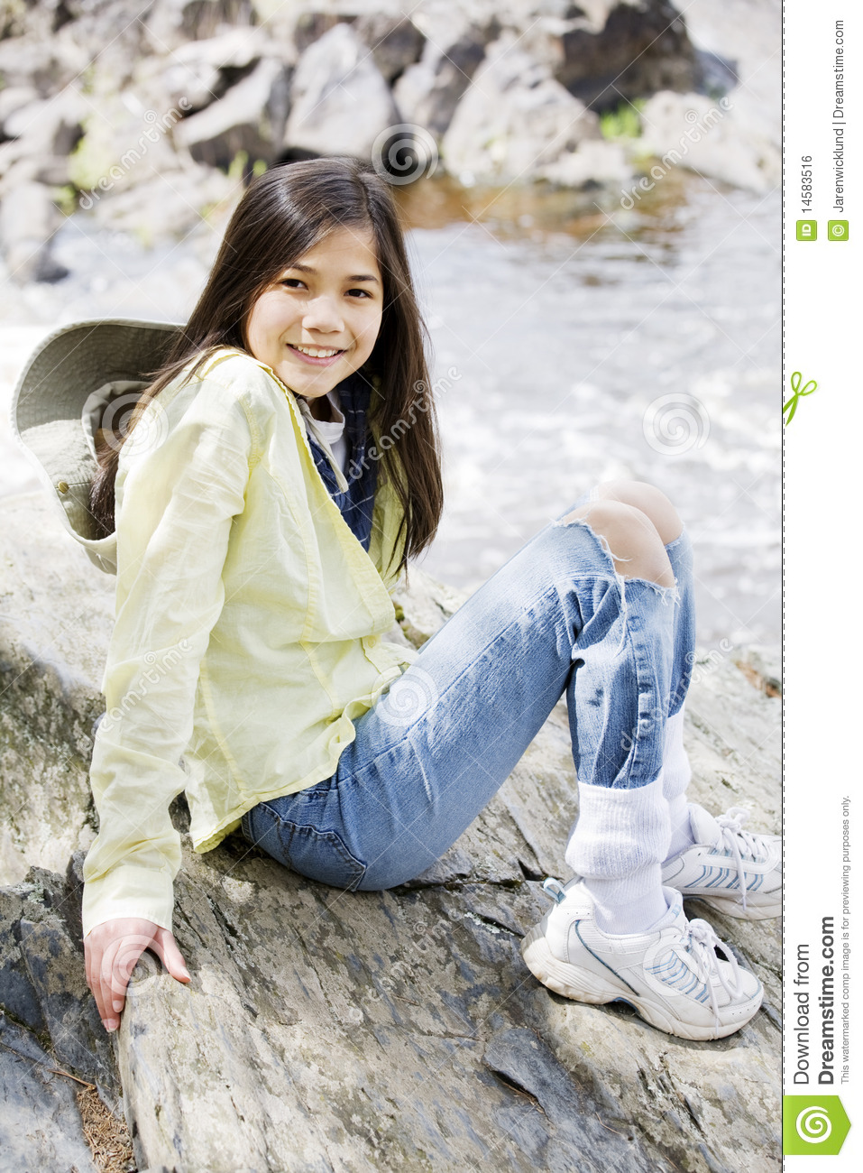 Too small! girl sitting on rock hot,nice