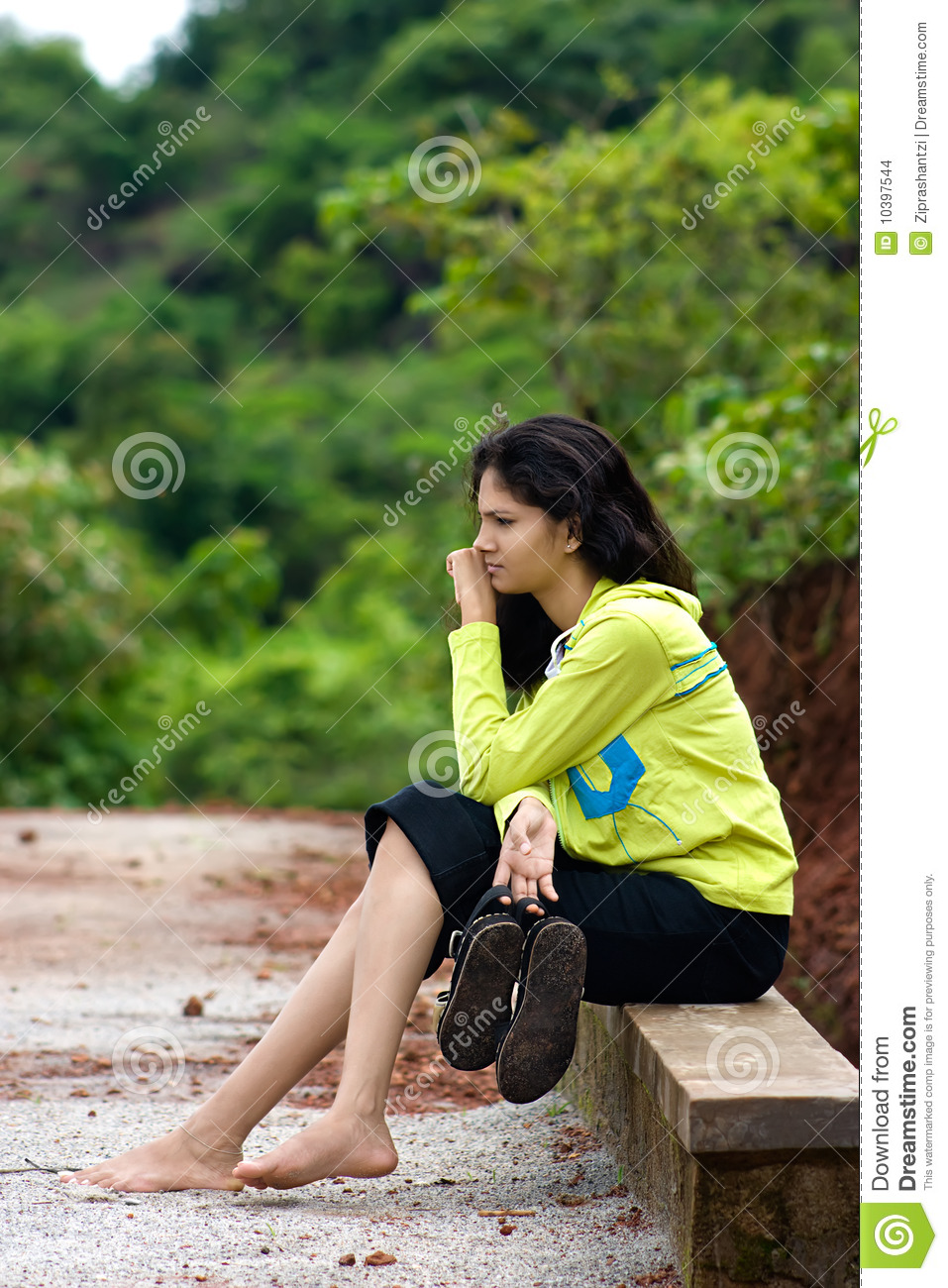 Girl Sitting On Side Bench Stock Photo Image Of Girl