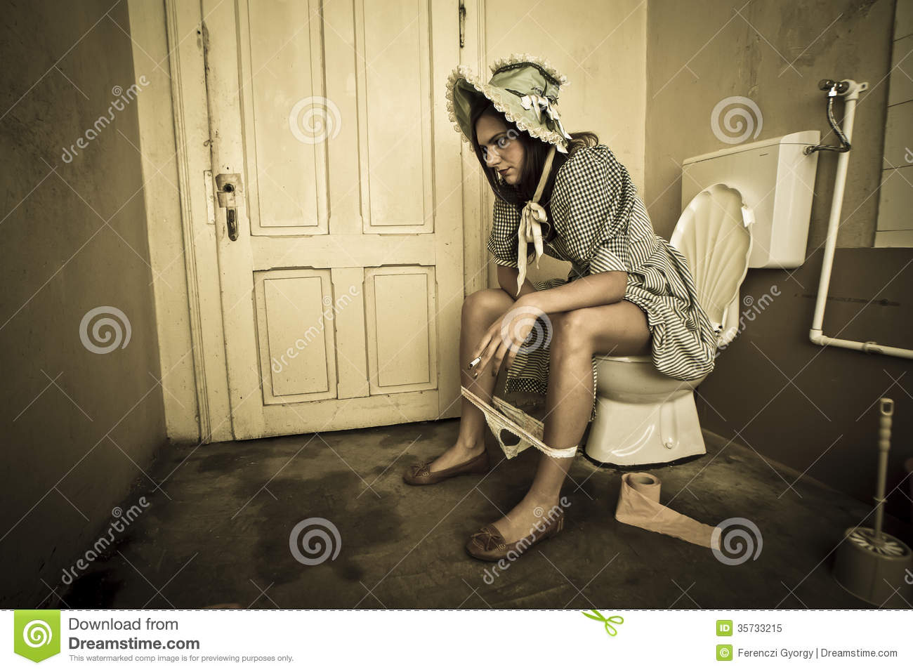 Girl Sitting On The Toilet Royalty Free Stock Photo ...