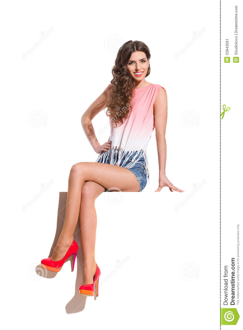 Girl Sitting On The Top Of A Banner Stock Image - Image Of Isolated, Cheerful 53943561-4724