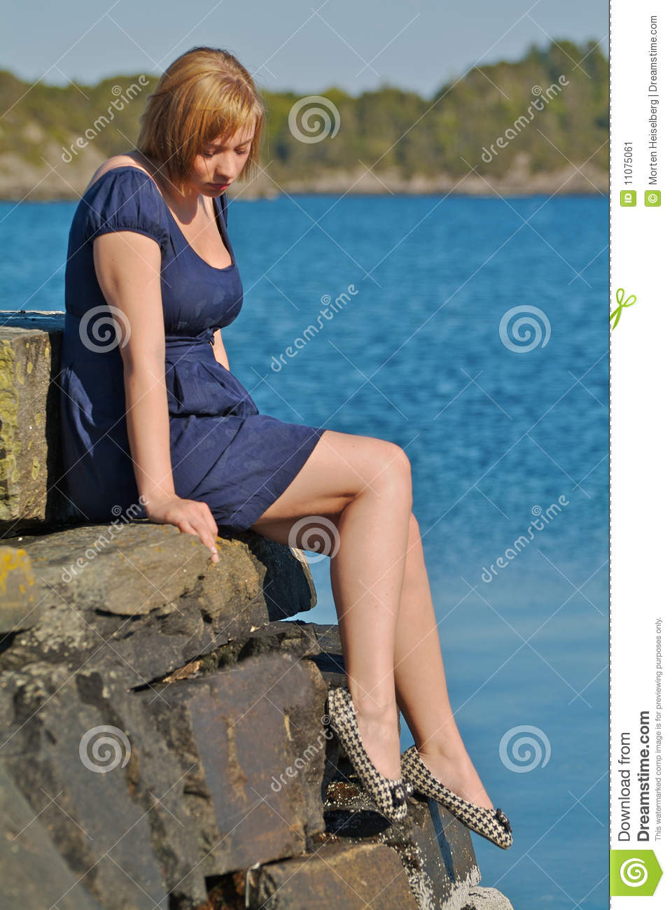 Girl Sitting By The Water Stock Image Image Of Caucasian