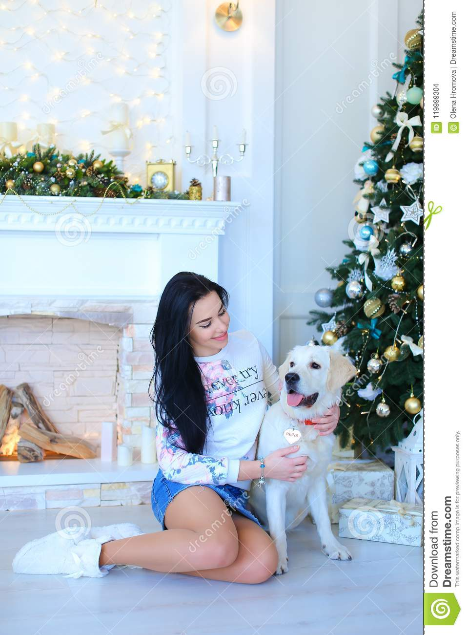 Girl sitting with white labrador near decorated fireplace and Christmas tree.
