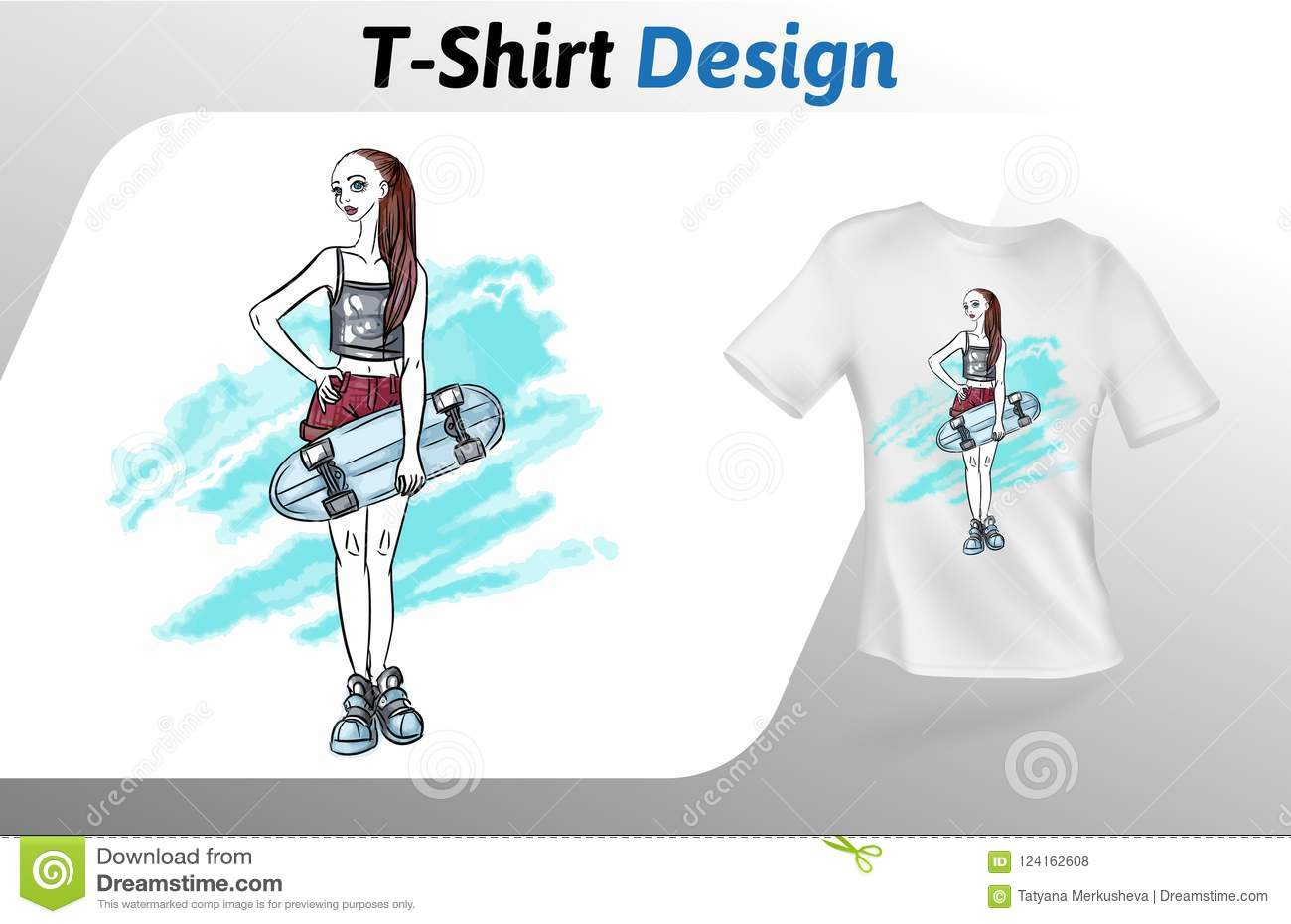 girl with skateboard on abstract background t shirt print mock up t