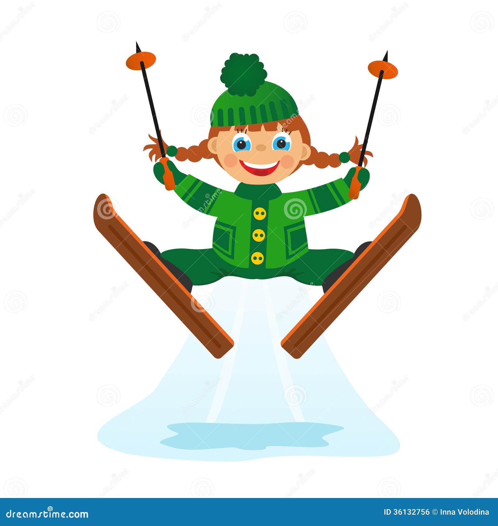 Girl on ski jumping stock illustration illustration of for Smow gutschein