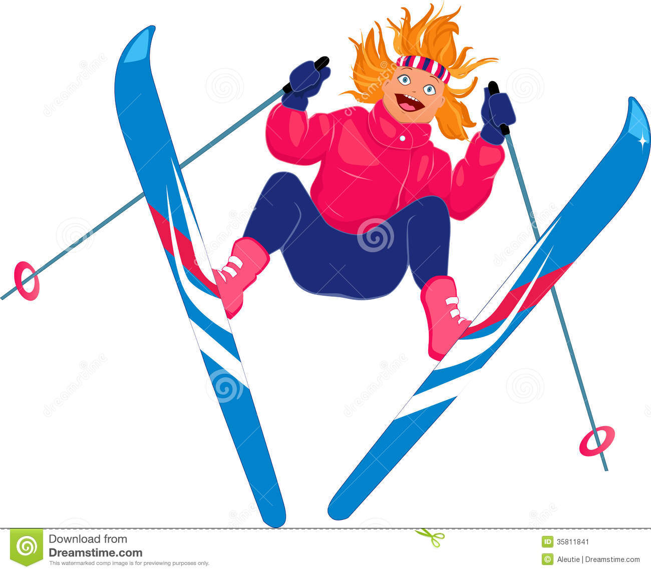 Vector illustration of a young redhead woman ski jumping and screaming ...