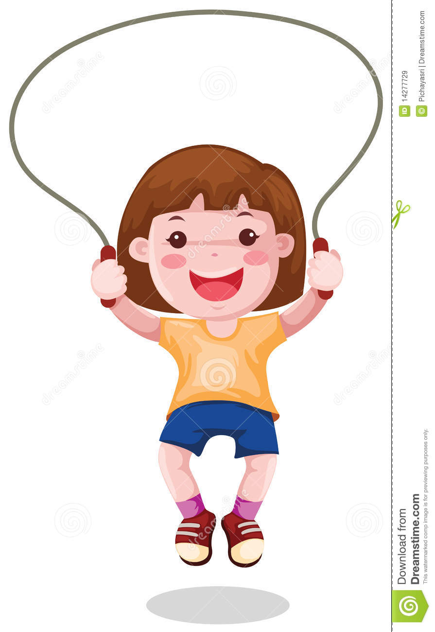 ... isolated a girl skipping on white background. Kids Hula Hoop Clipart