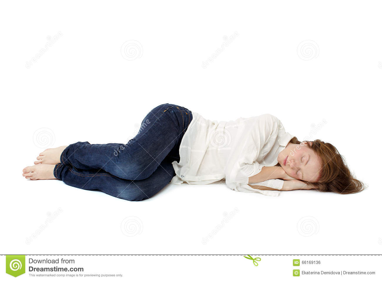 The girl sleep in her clothes on the floor stock photo for On the floor