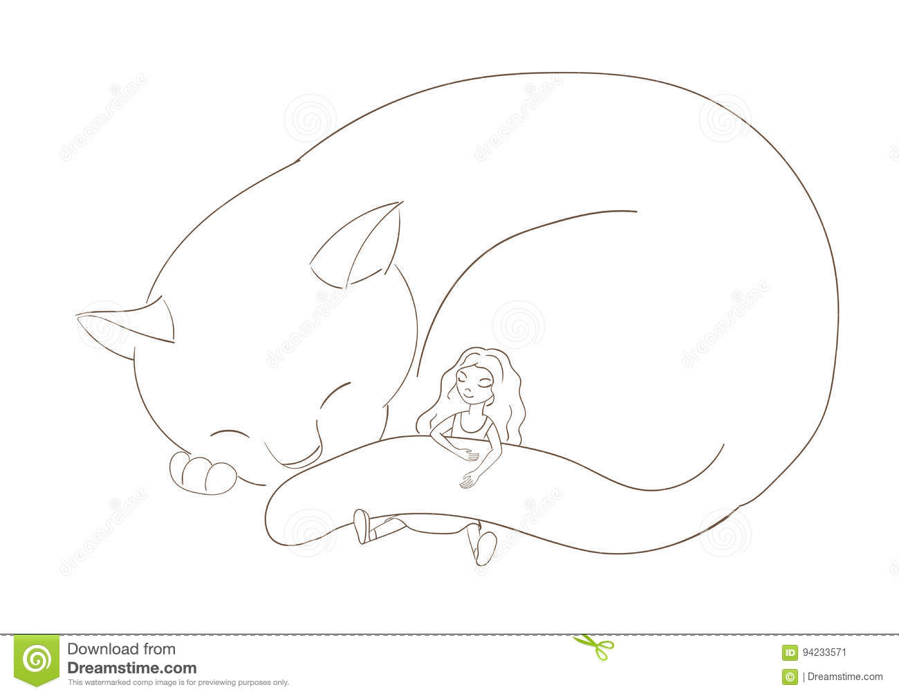 Girl Sleeping With Cat Stock Vector Illustration Of