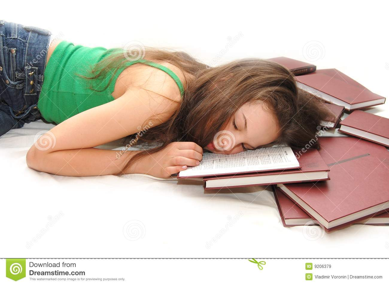 Girl Sleeping With Her Head On An Open Book Royalty Free -1362