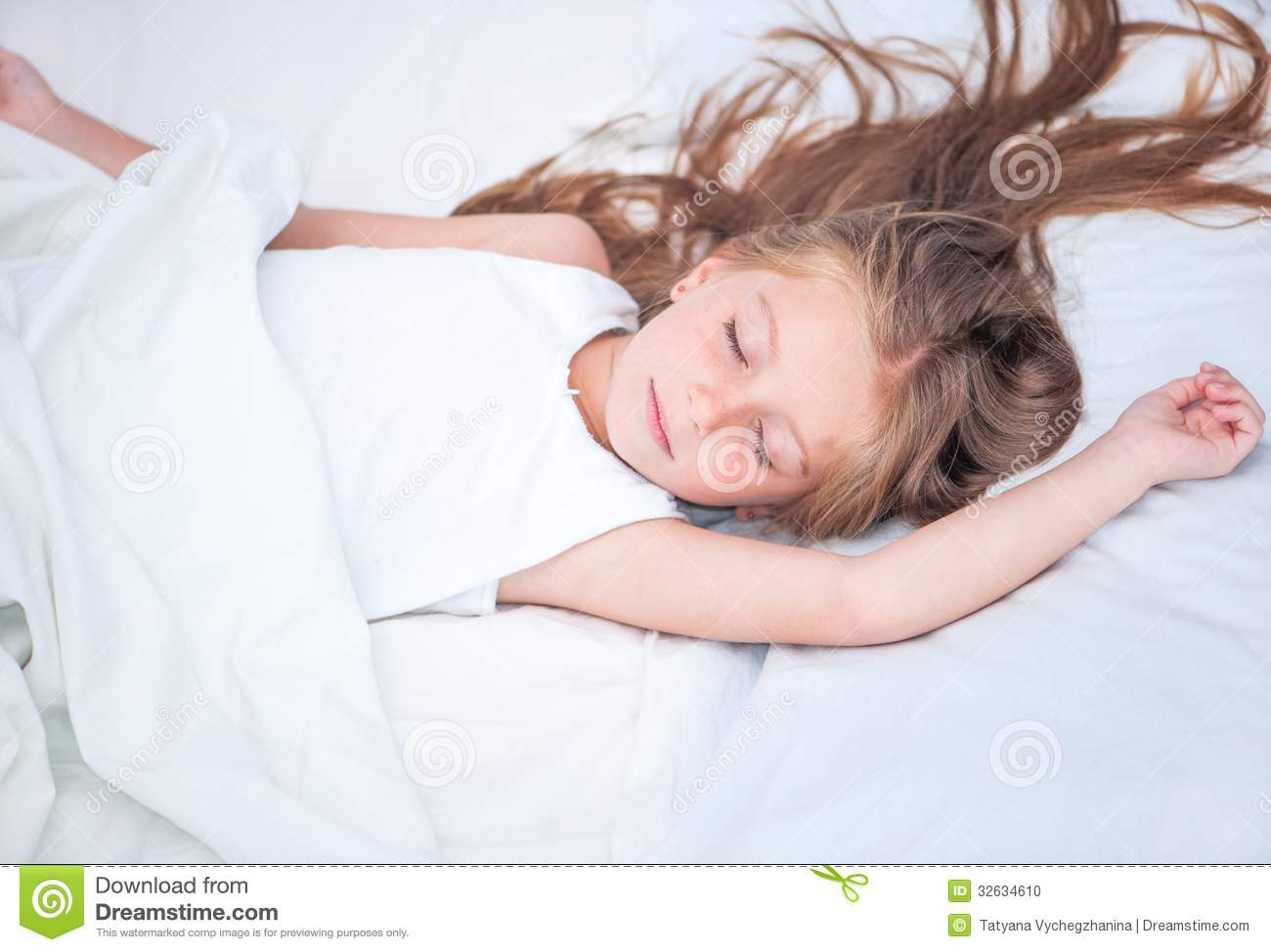 Girl Sleeping In White Bed Stock Photo Image Of Child