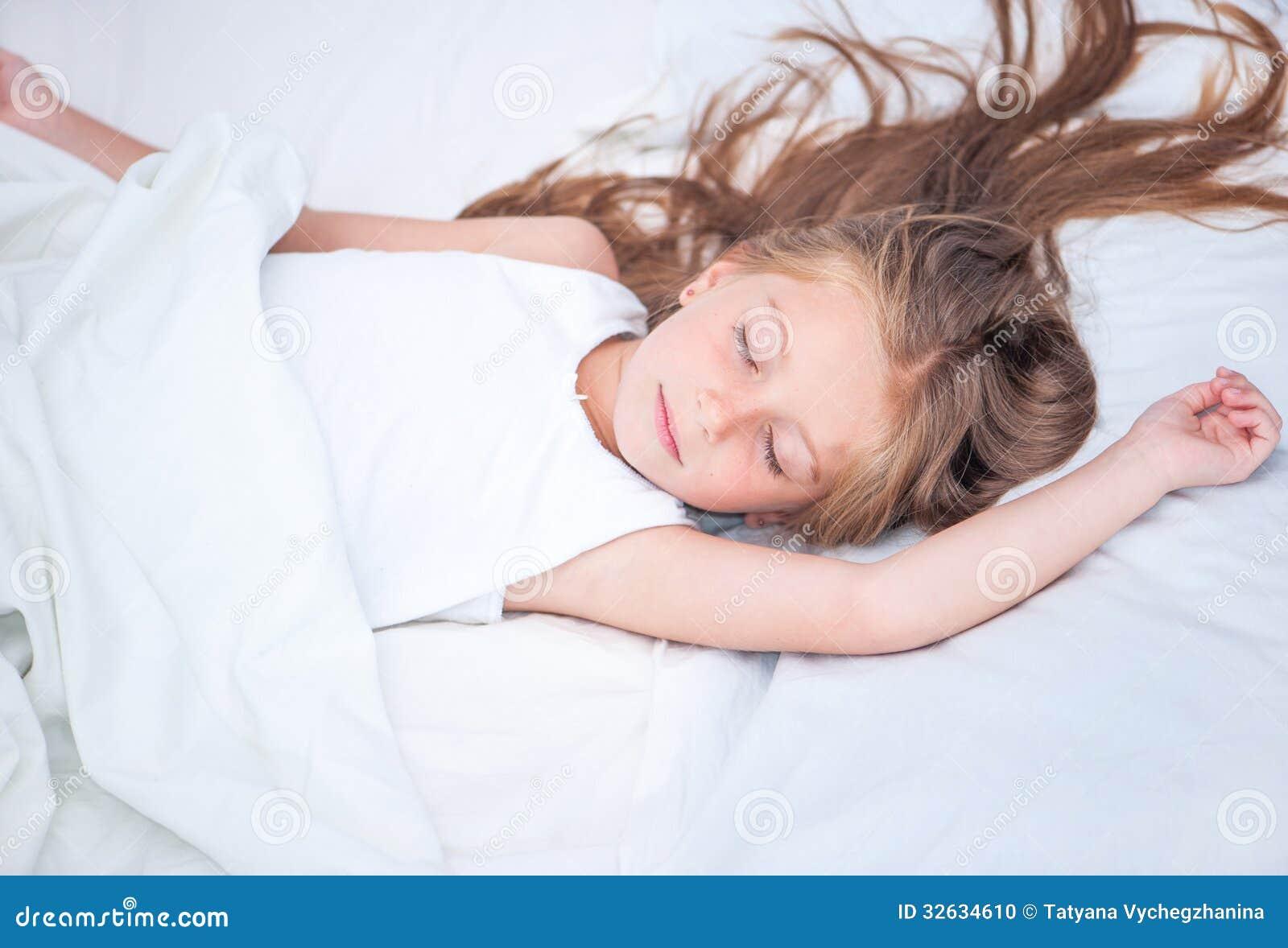 the girl sleeps in white panties