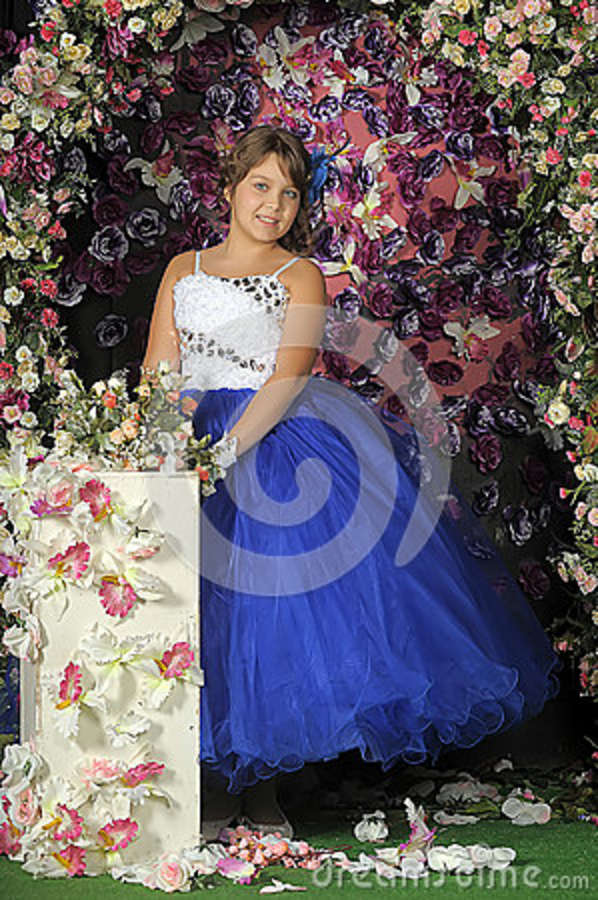 Girl In A Smart Blue And White Ball Gown Stock Photo - Image of ball ...
