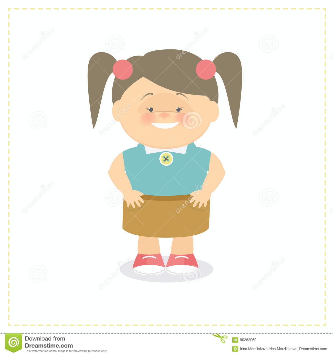 The girl smiles and stands holding hands in the side vector