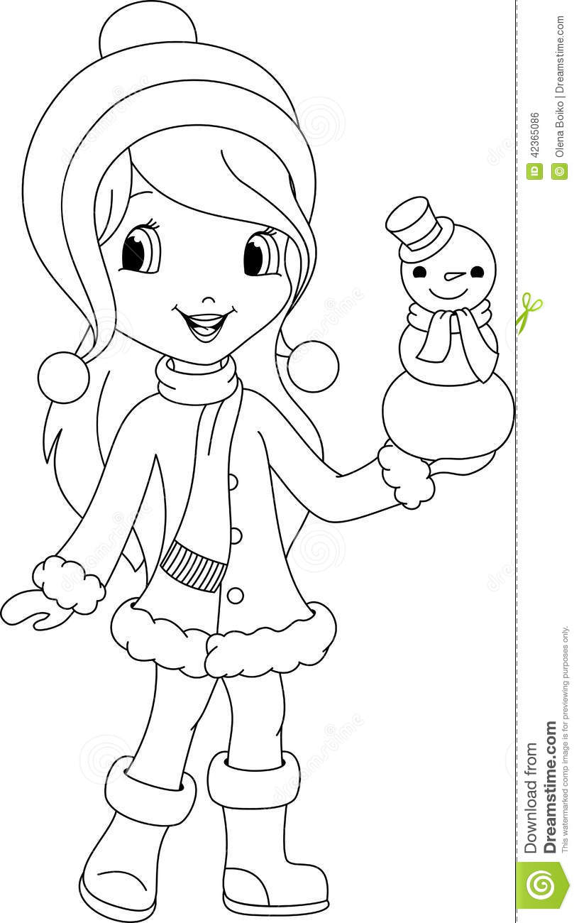 christmas girl snowman coloring pages - photo#10