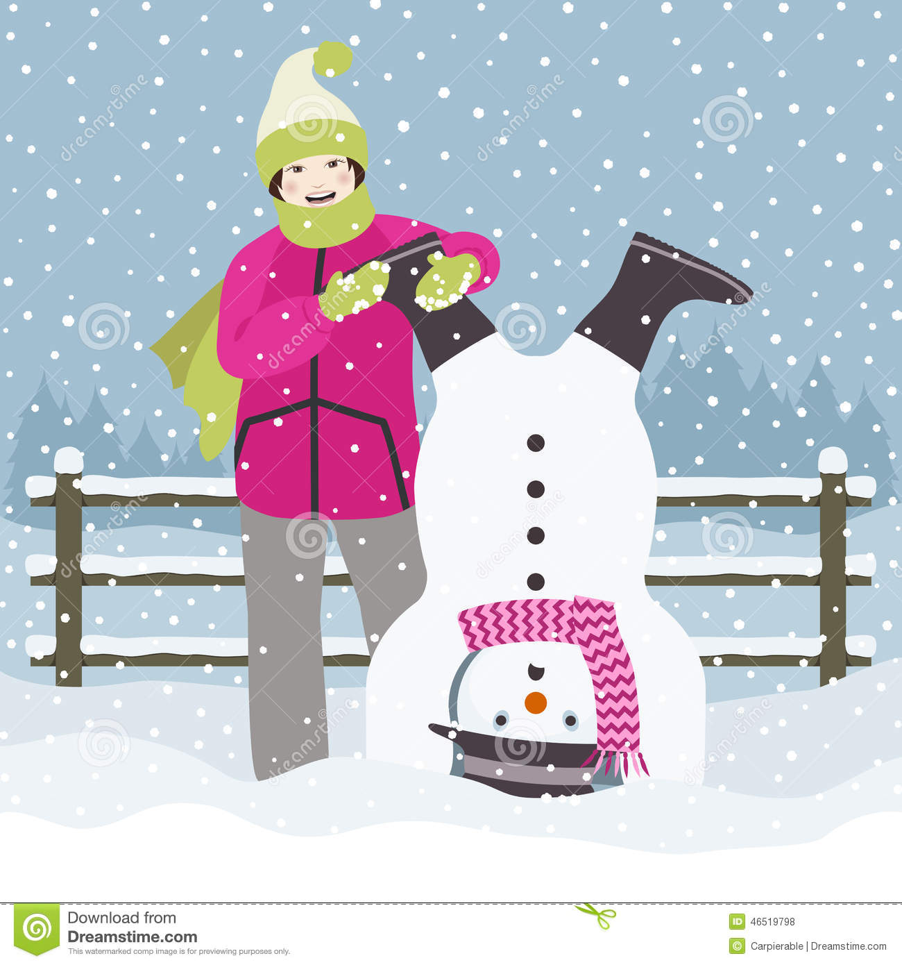 Girl And Snowman Down Stock Vector - Image: 46519798