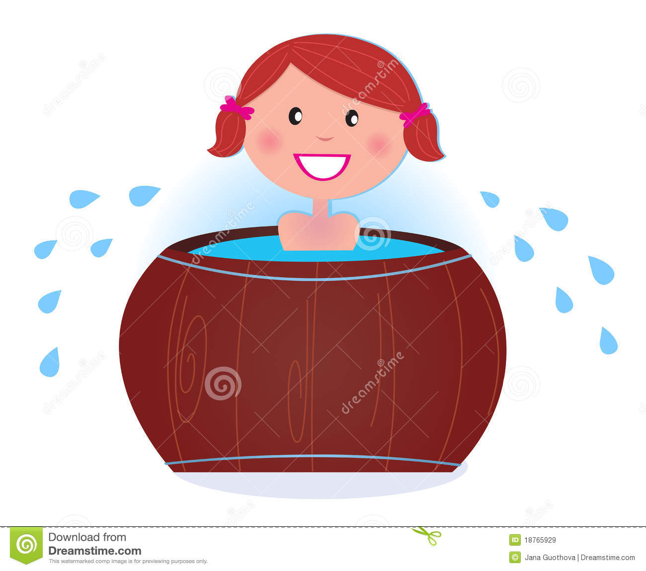 Jana Only Sweet Girls: A Girl Soaking In Cold Barrel Tub After Sauna Stock Vector