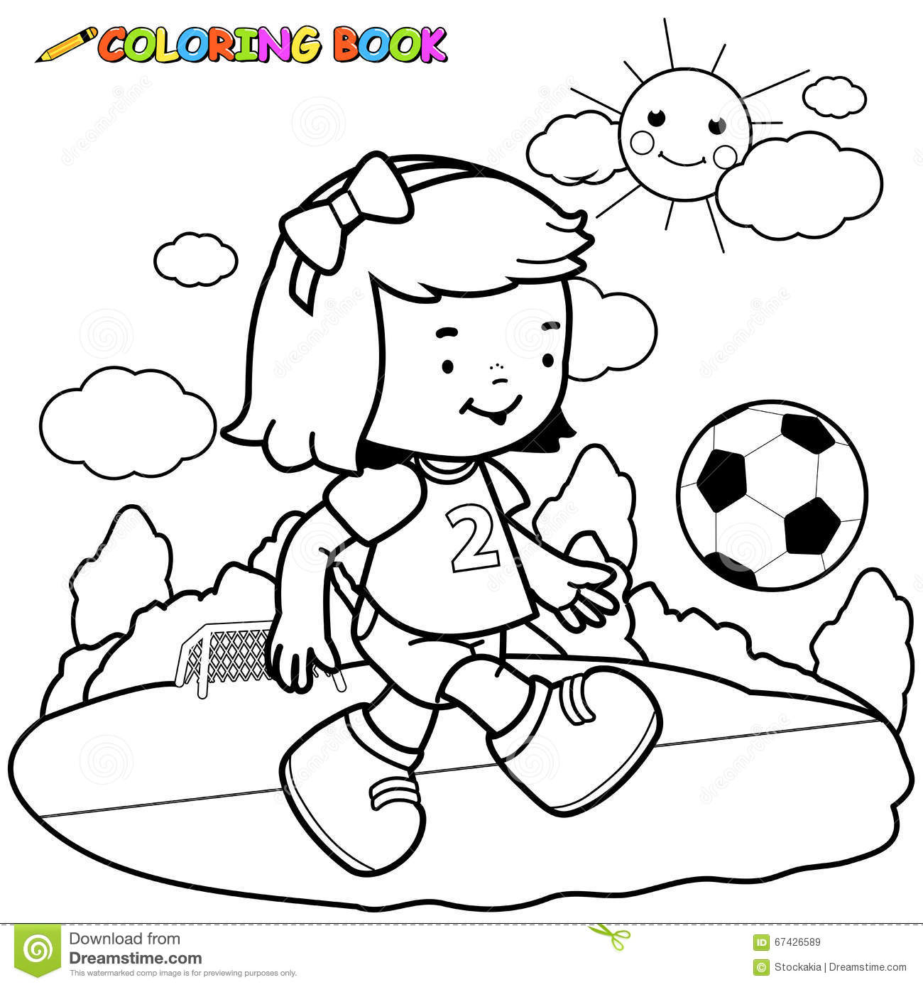 Girl Soccer Player Coloring Page Stock Vector Image