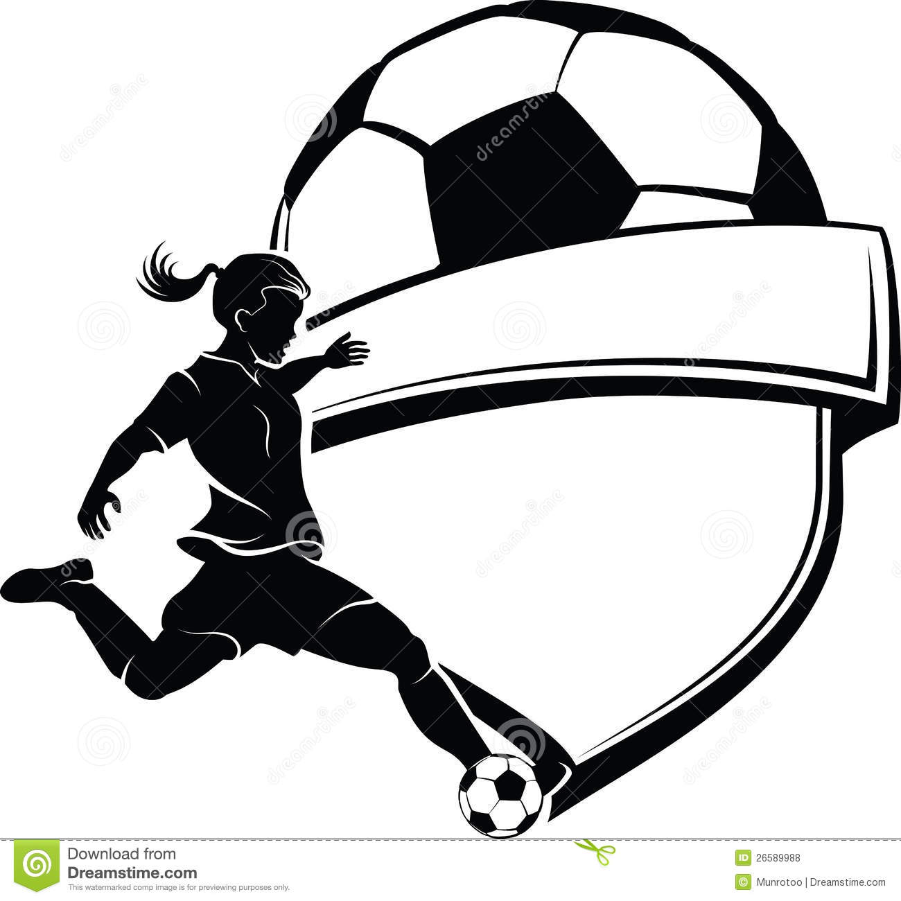 Vector black and white illustration of a girl soccer player getting ...