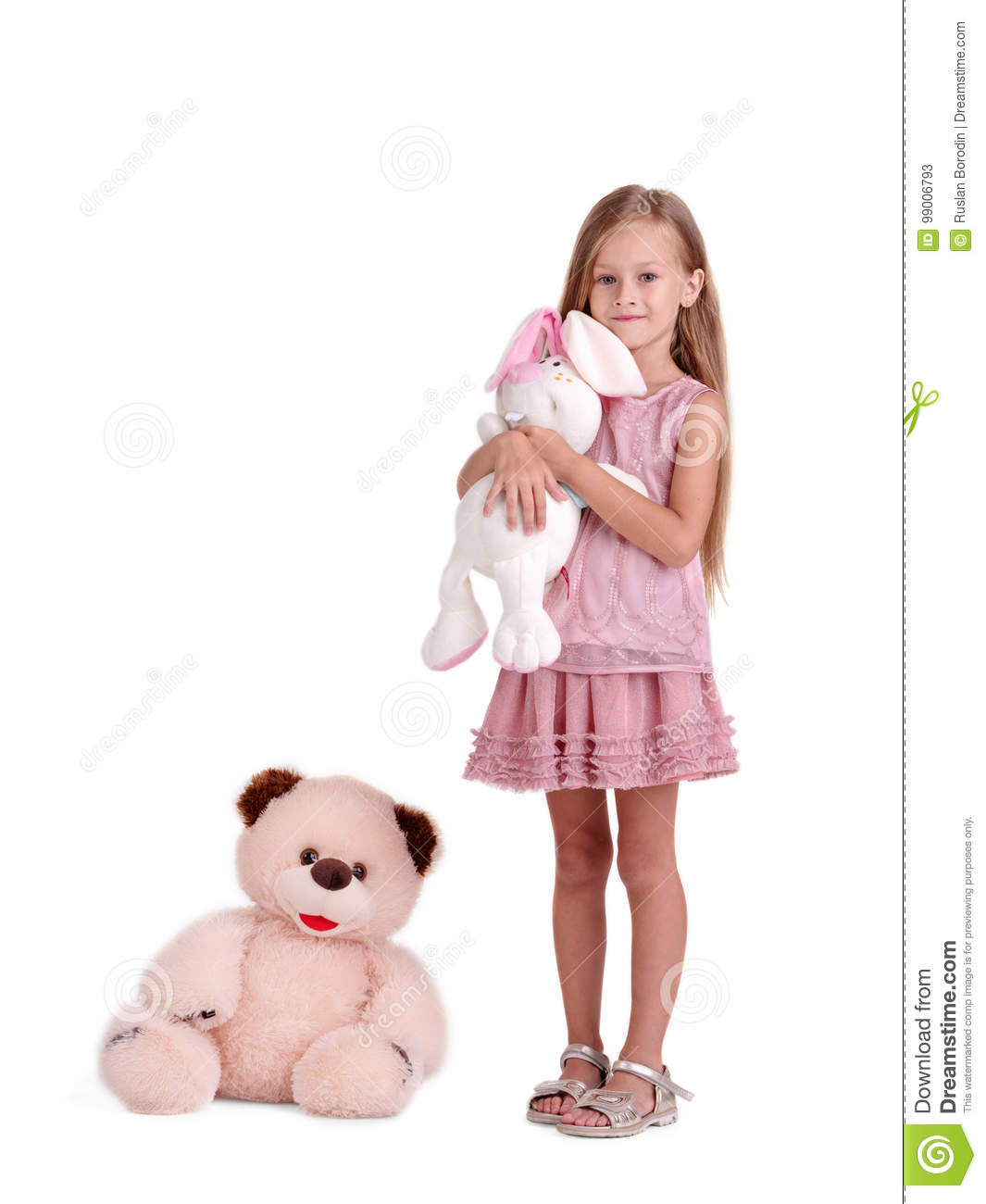 A Girl With A Soft Toy, Isolated On A White Background. A ...Little Girl With Teddy Bear Black And White