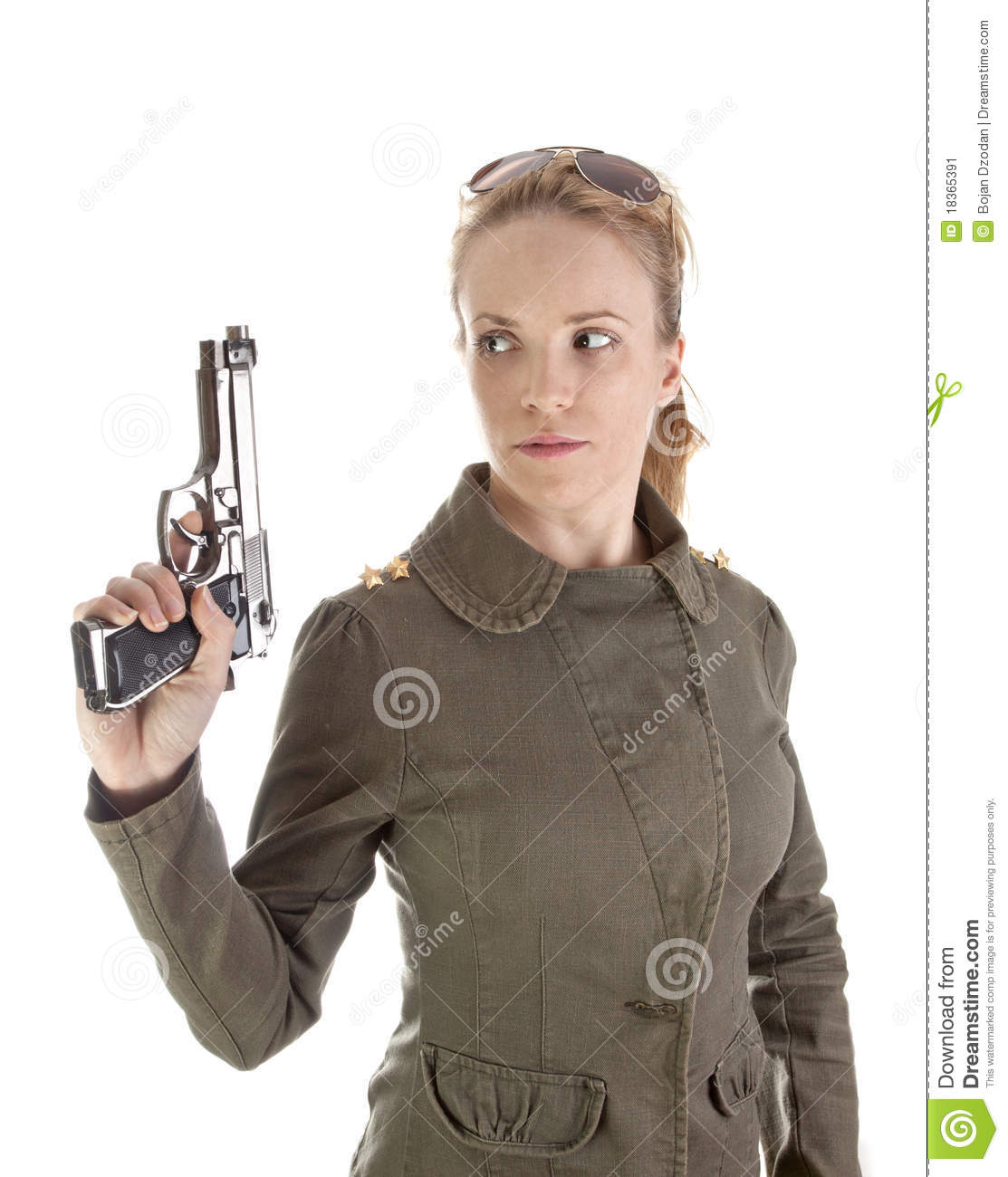 Are military naked army girl holding a gun