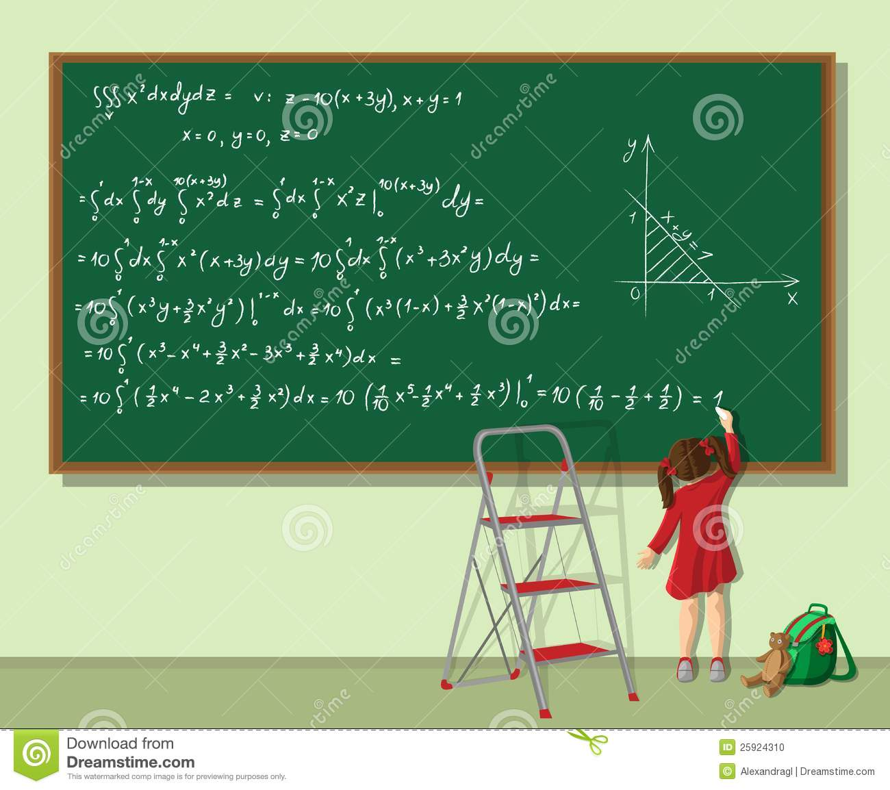 Girl Is Solving The Equation Stock Photo - Image: 25924310