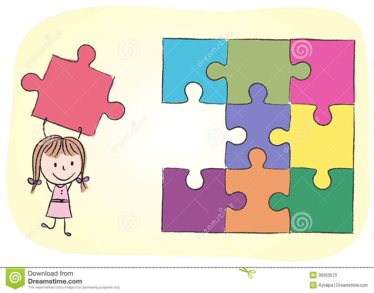 Girl solving puzzle stock vector illustration of home - Puzzle dessin ...