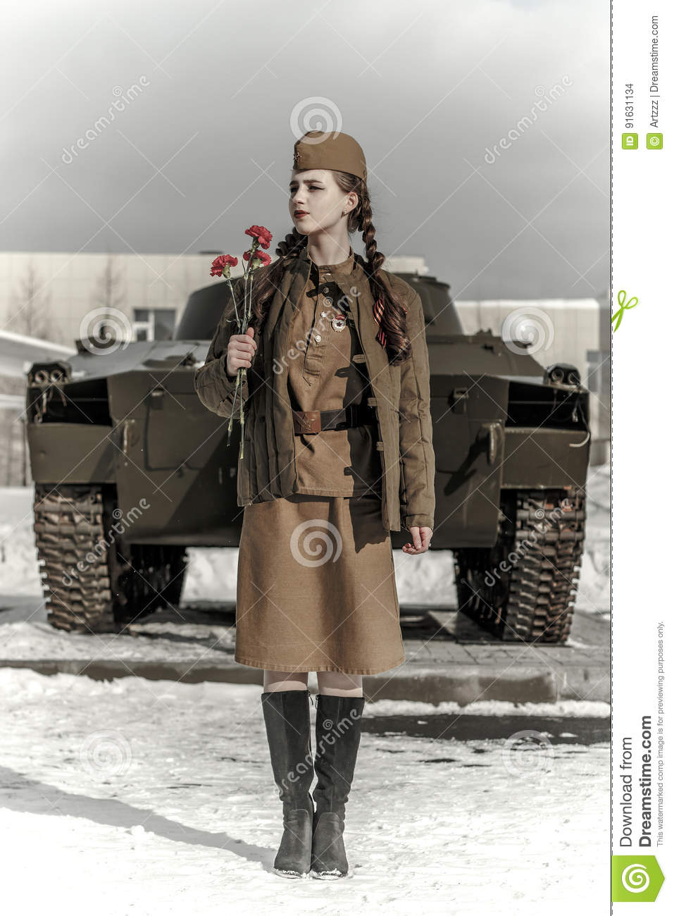 naked girl with military uniform
