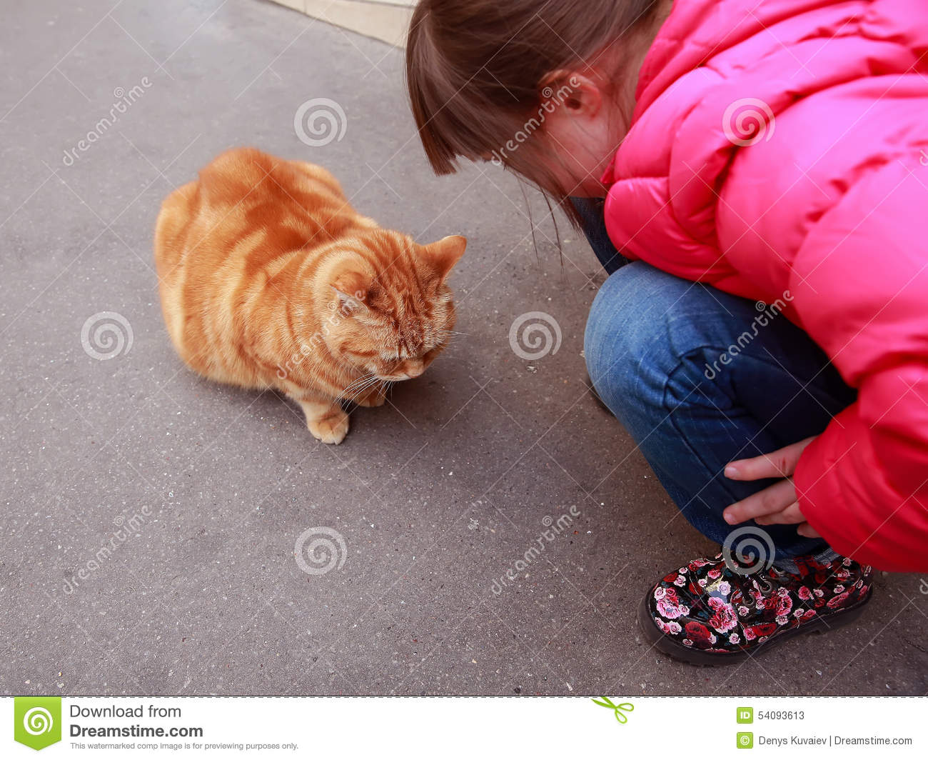 Girl speaking with cat