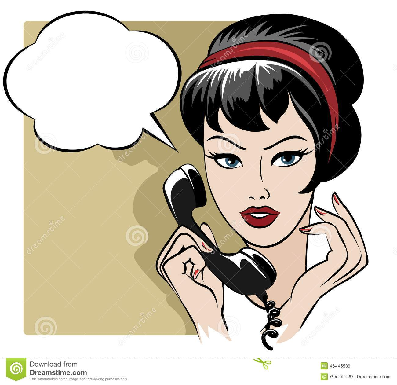 The Girl Speaking By Phone With Empty Speech Stock Vector ...