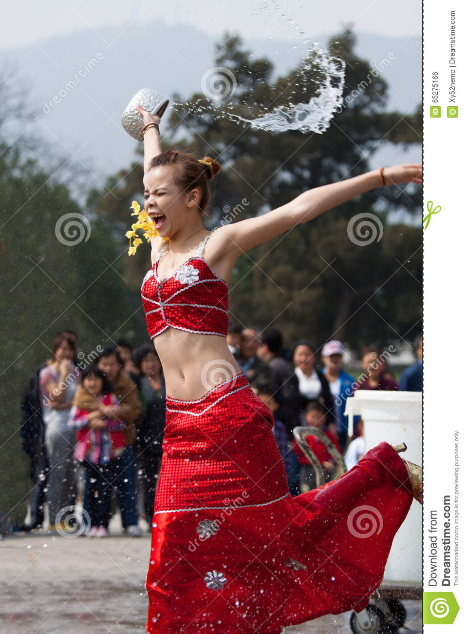 Download Girl Splashing Water, Funny And Overstated Emotions Editorial Photo - Image of expression, garden: 65275166