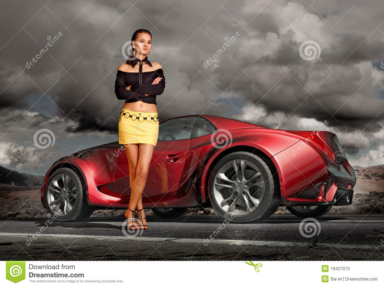 girl and sports car stock illustration illustration of girl 19427073. Black Bedroom Furniture Sets. Home Design Ideas