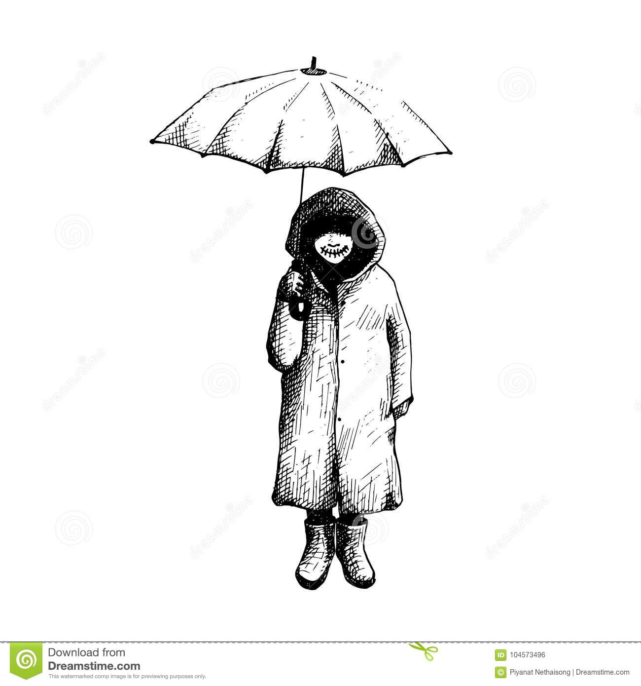 Girl stand alone in the rain with umbrella vector illustration hand drawing line art and symbolic family mistake tattoo design ink work